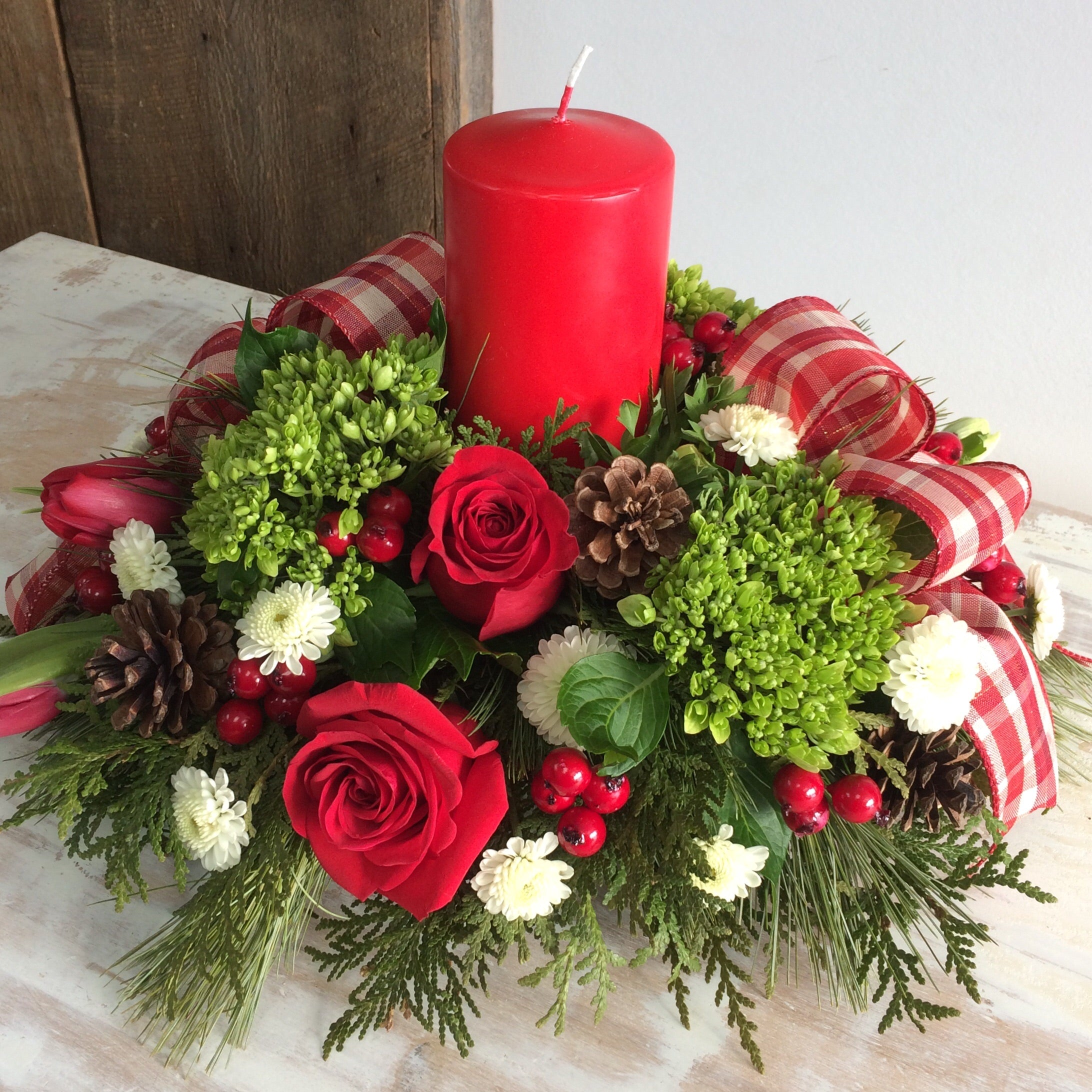 Holiday Delight ~ Pillar Candle Centerpiece