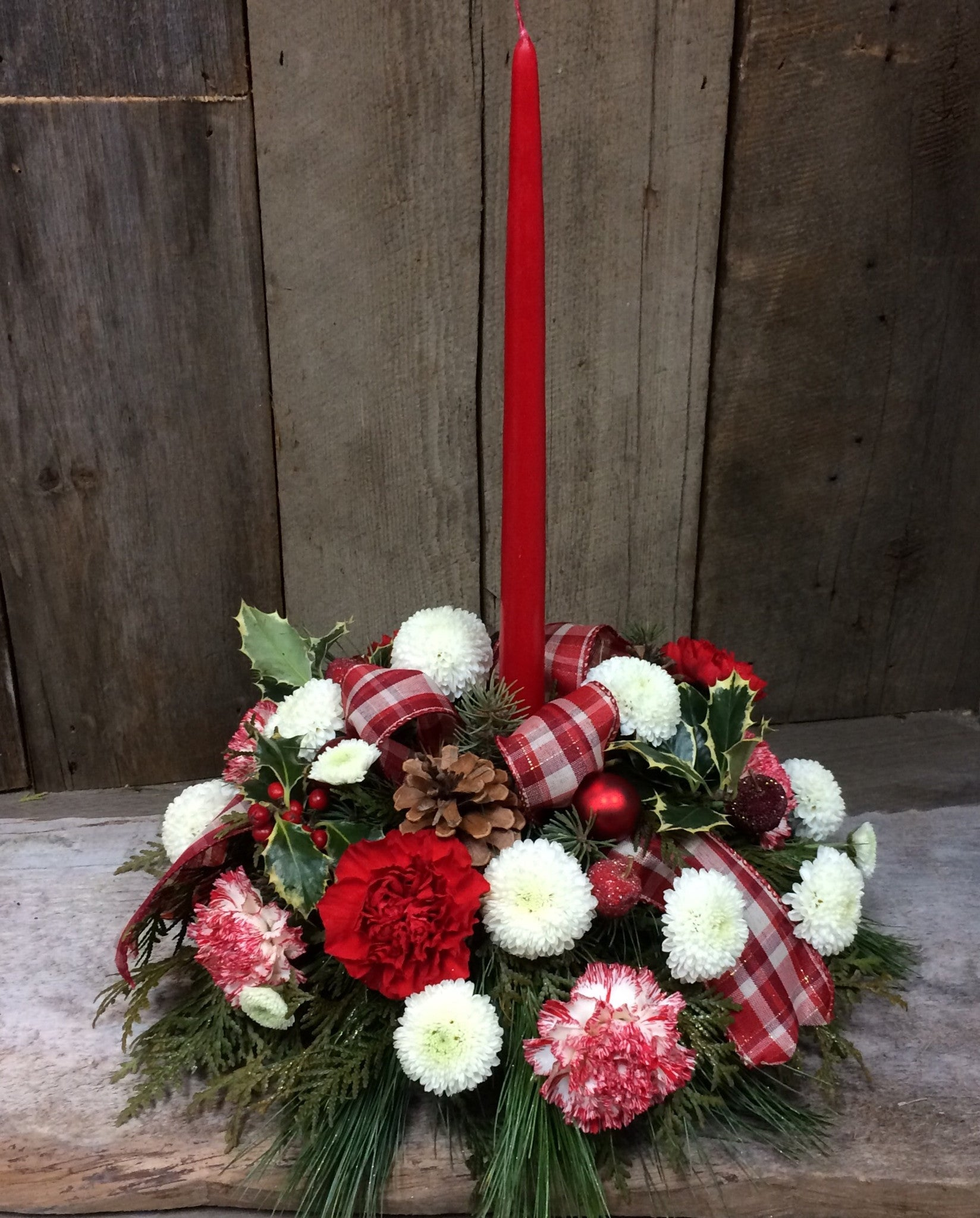Christmas Joy ~ Single Candle Centerpiece