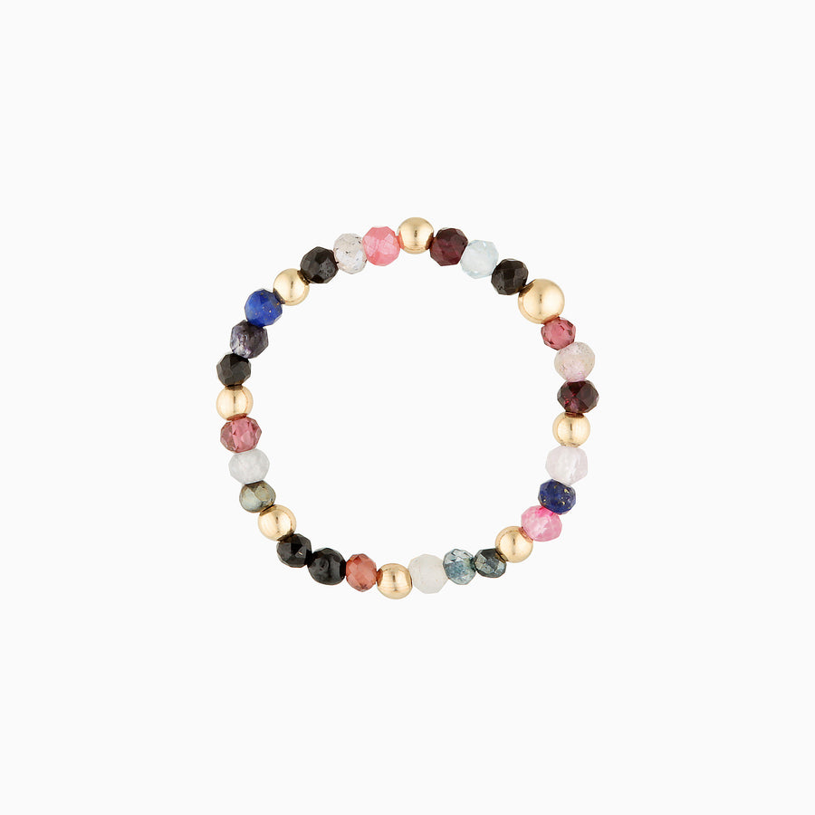 Gold Bead Ring ~ Multi colour gems