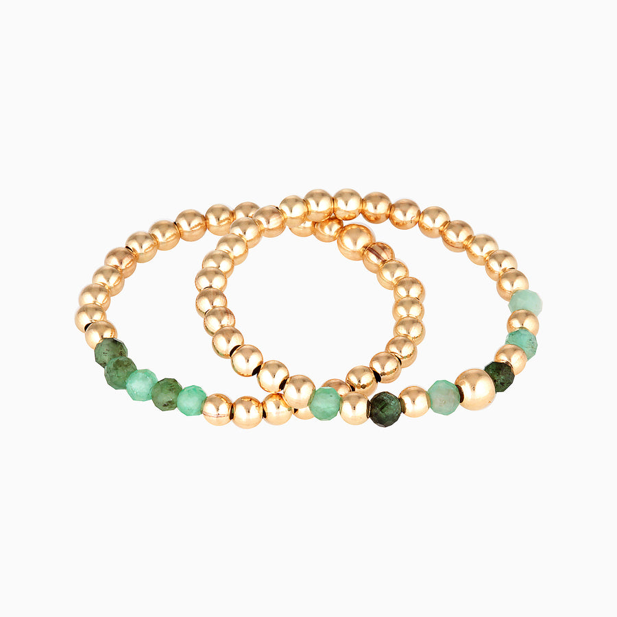 Gold Bead Ring ~ Emerald