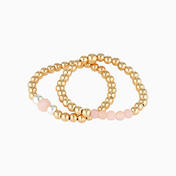 Gold Bead Ring ~ Pink Peruvian Opal