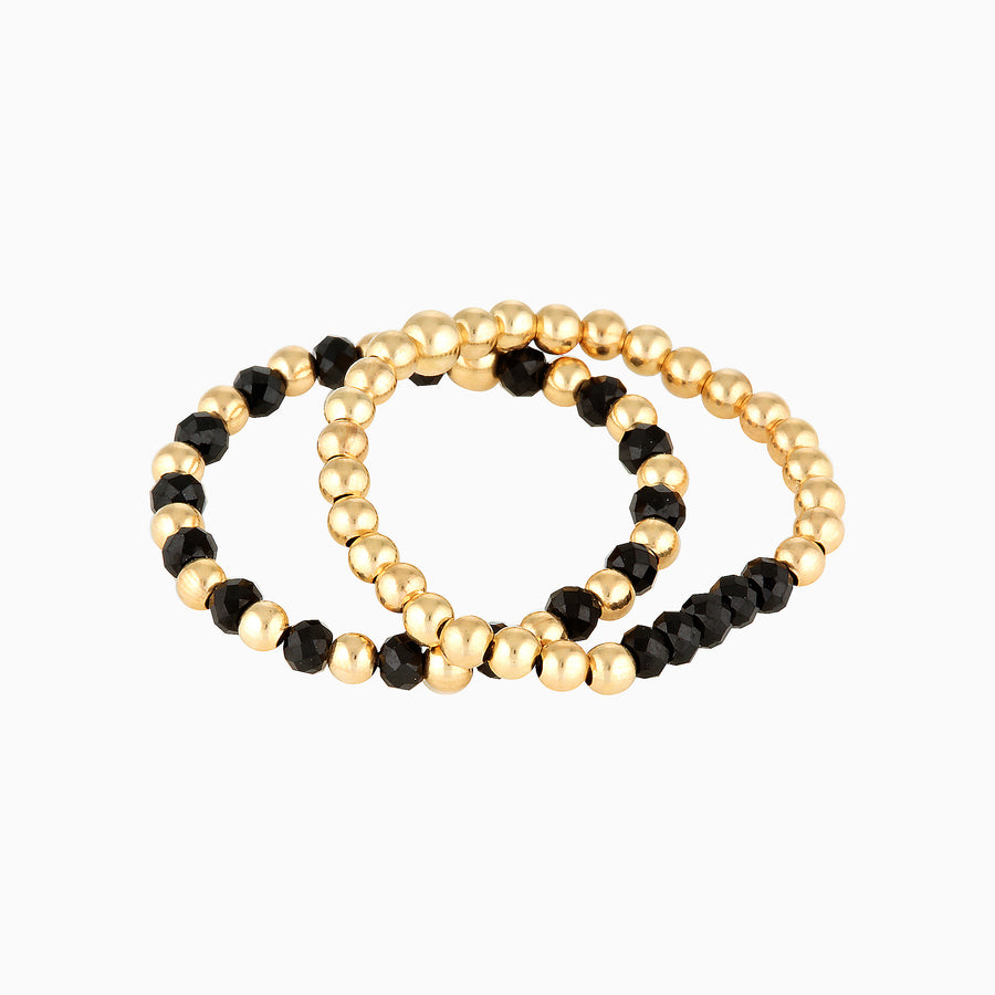 Gold Bead Ring ~ Black Spinel
