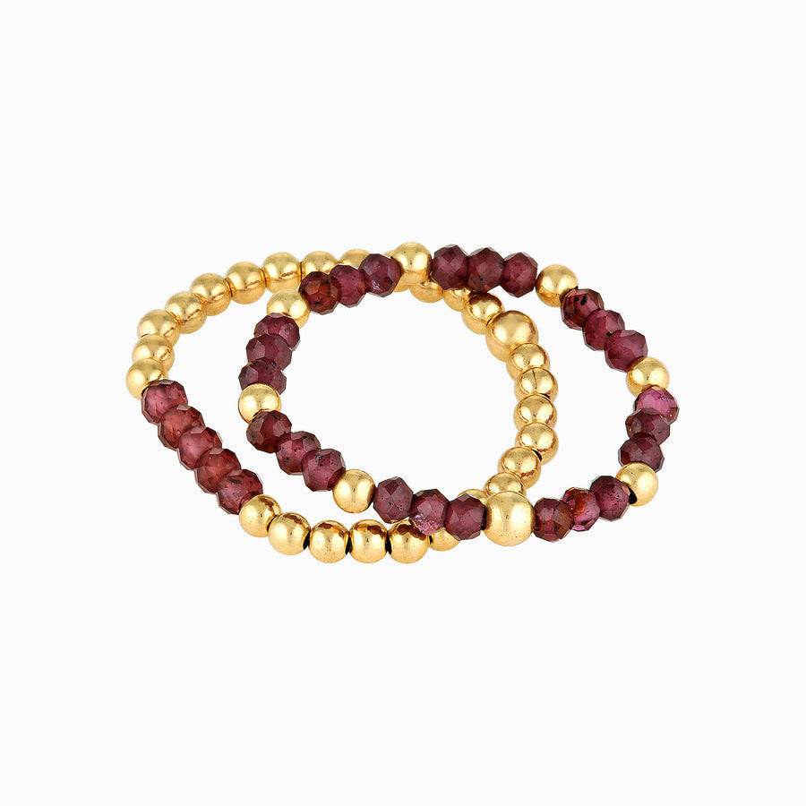 Gold Bead Ring ~ Garnet