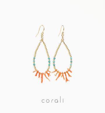 Tropea Earrings ✧ Coral and Turquoise