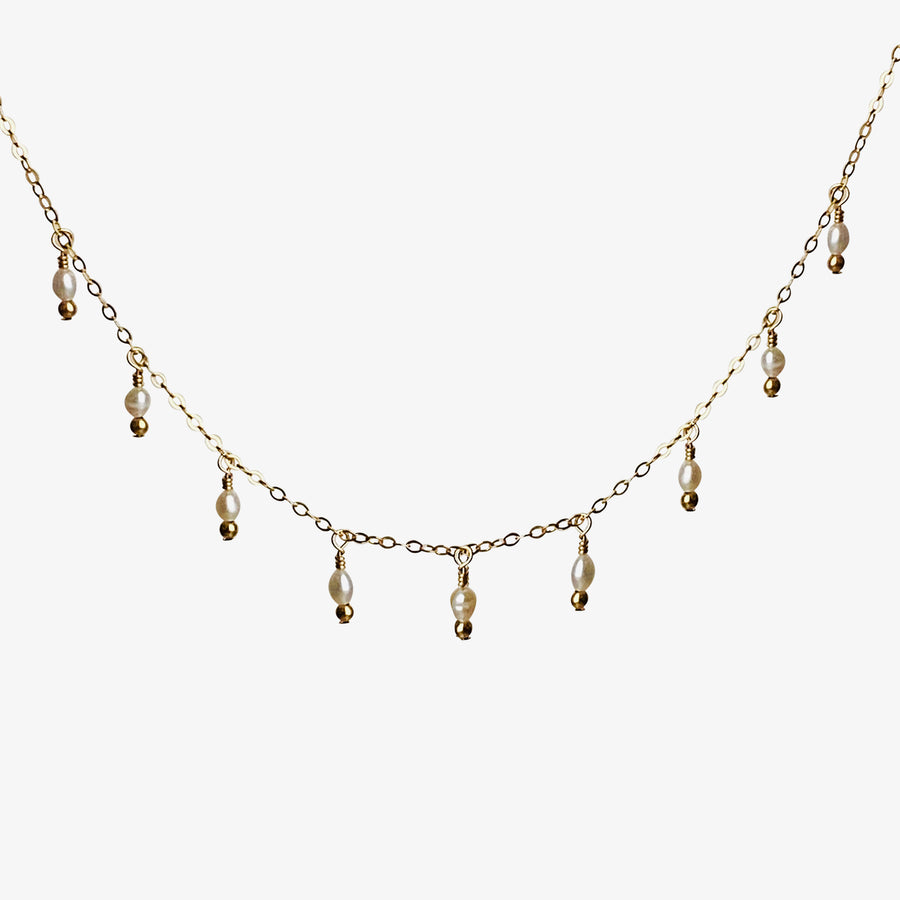 Rain Choker Necklace ~ Pearl