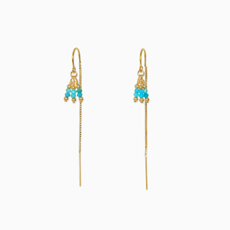 Rima Thread Through Earrings ~ Turquoise