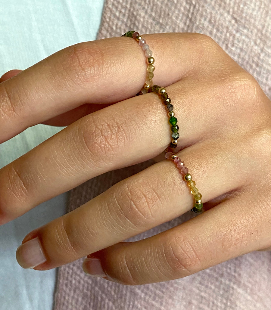 Gold Bead Ring ~ Tourmaline gems