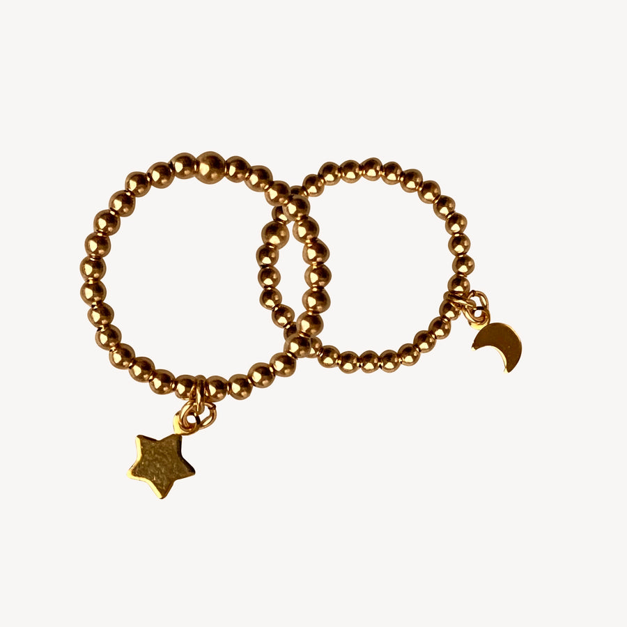 Gold Bead Ring ~ Moon and Star charm
