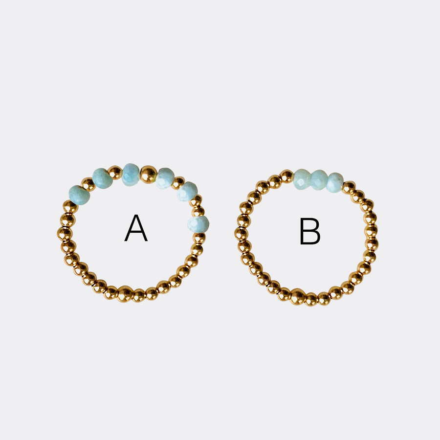 Gold Bead Ring ~ Larimar