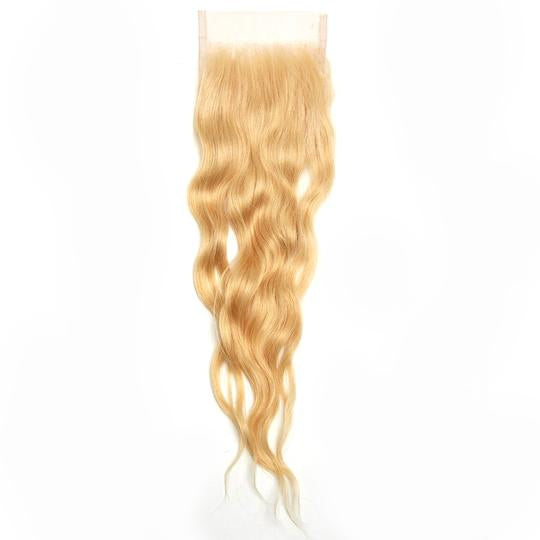 Raw Blonde Wavy Human Hair Closure