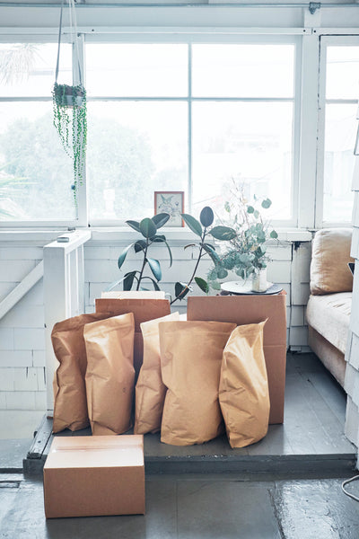 Bags of Canyon Coffee waiting to be shipped out | Home office | Bright spaces