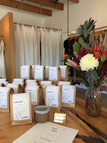 Canyon Coffee display at Christy Dawn pop-up in Venice, CA | Chochajau, Guatemala medium roast