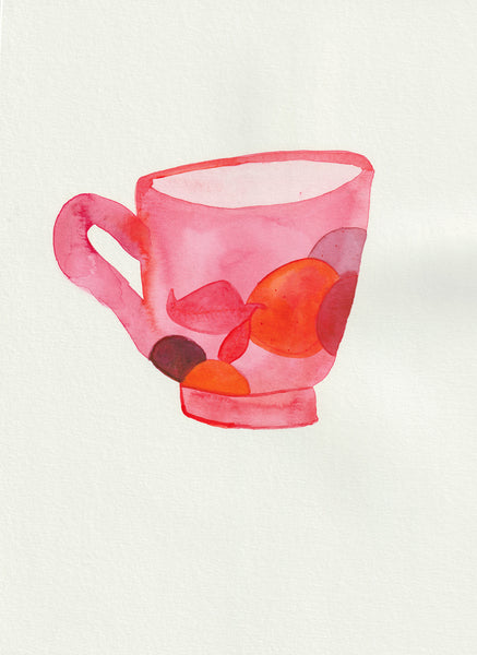 Watercolor painting by artist Johanna Tagada of a coffee cup inspired by Canyon Coffee's Tolima Especial