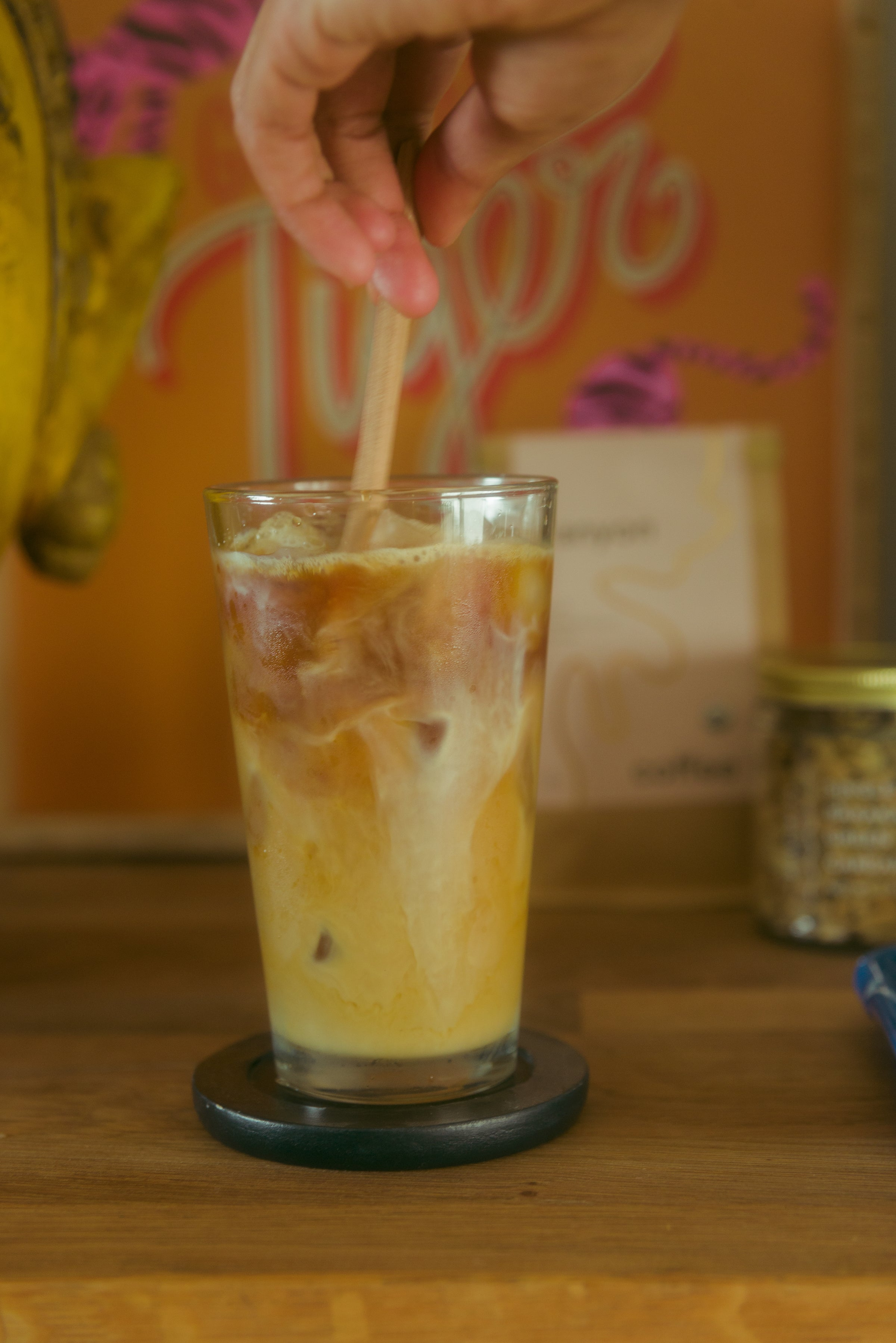 Cardamom coffee iced coffee with Canyon Coffee, by Diaspora Co