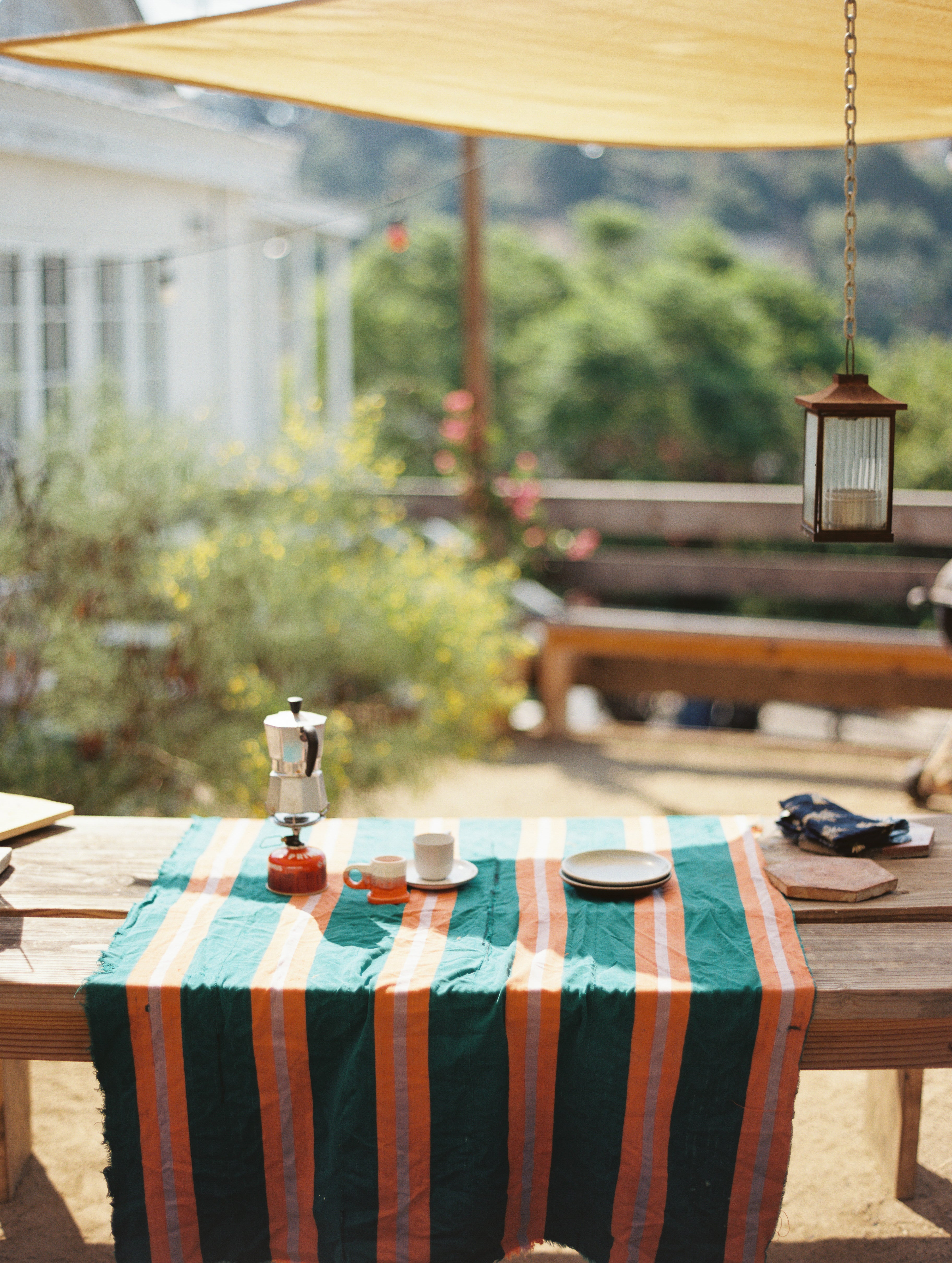 Outdoor coffee set up at the Los Angeles home of Alex Tieghi-Walker   Photo by Justin Chung