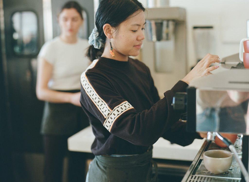 A barista pulling Canyon Coffee espresso at Amara Kitchen in Highland Park, Los Angeles | photo by Justin Chung