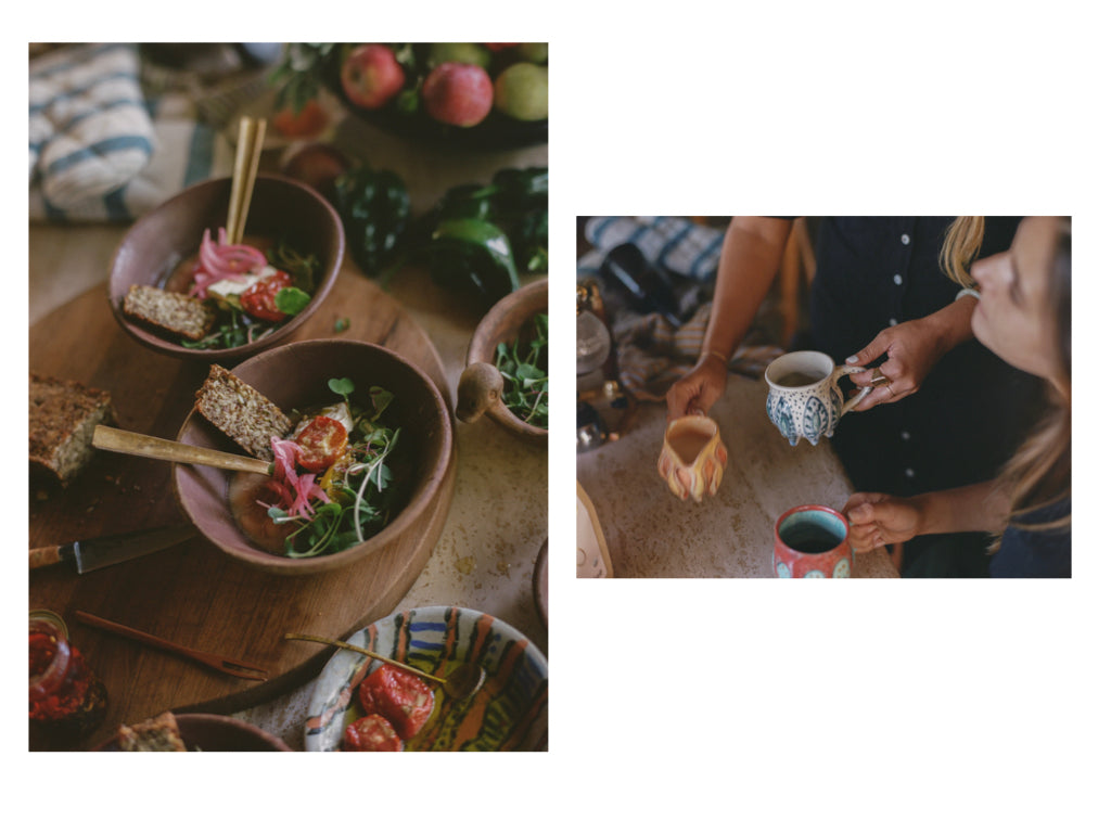Two photos: one of two bowls of pozole made by Beatrice Valenzuela, and one of several colorful coffee mugs. Photos by Justin Chung.