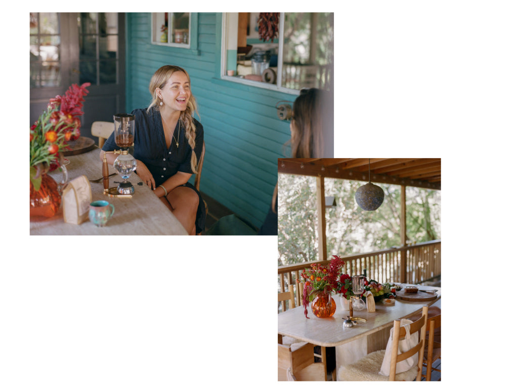 Two photos: one of Beatrice Valenzuela on her porch in Echo Park, another of the big kitchen table on the same porch. Photo by Justin Chung for Canyon Coffee.