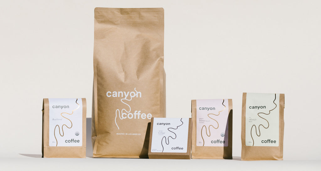 A mix of 12oz and bulk whole bean coffees, and third wave freeze-dried instant coffee