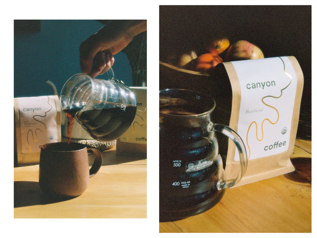 Two photos: one of coffee being poured into a mug, another of a bag of Canyon Coffee sitting next to a glass server with coffee