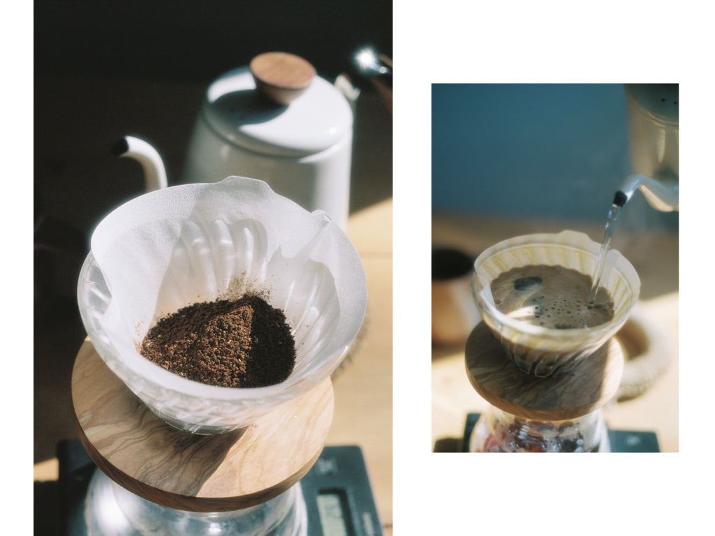 Two photos: one of ground Canyon Coffee in a V60, and another of a kettle pouring water over the coffee