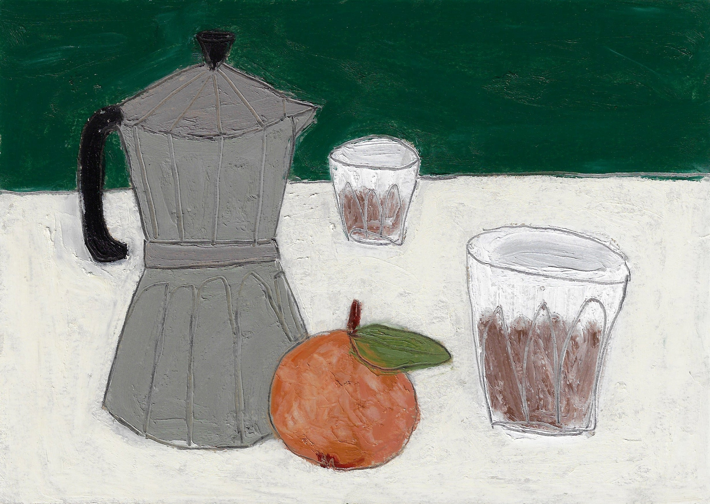 Painting of a stovetop espresso maker with oranges and two espresso glasses. Painting by Lottie Hampson.