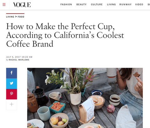 "An article on Vogue featuring Canyon Coffee with the title ""How to Make the Perfect Cup, According to California's Coolest Coffee Brand"""