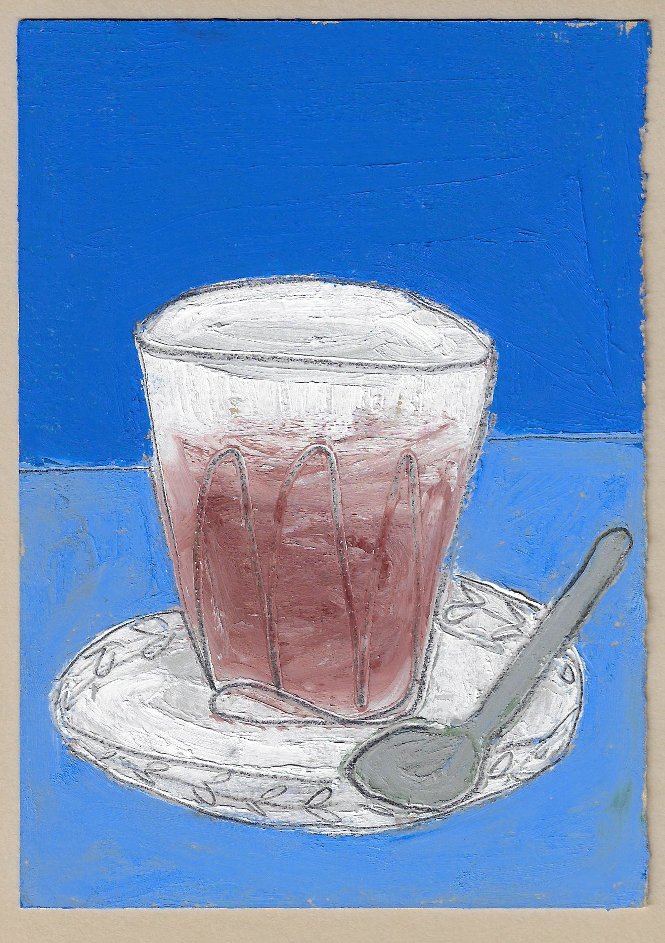 Painting of a cortado on blue background by Lottie Hampson for Canyon Coffee