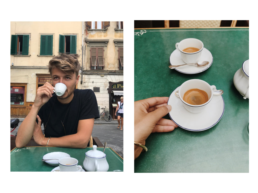 Casey Wojtalewicz, co-founder of Canyon Coffee, sipping an espresso at Cibreo Caffe in Florence, Italy