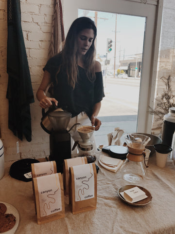 Ally Walsh, founder of Canyon Coffee, making pour-over coffee at General Store in Venice.