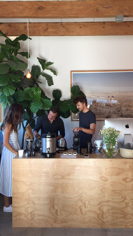 Coffee brew bar at the Canyon Coffee Pop-up on 10/9/17 in Venice, CA | Featuring barista Cody Chouinard of Menotti's, Casey, and our lovely neighbor Jody!