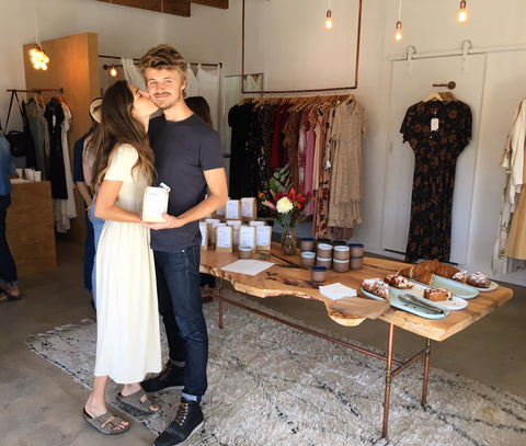 Ally & Casey, owners of Canyon Coffee, at their pop-up at Christy Dawn's store in Venice