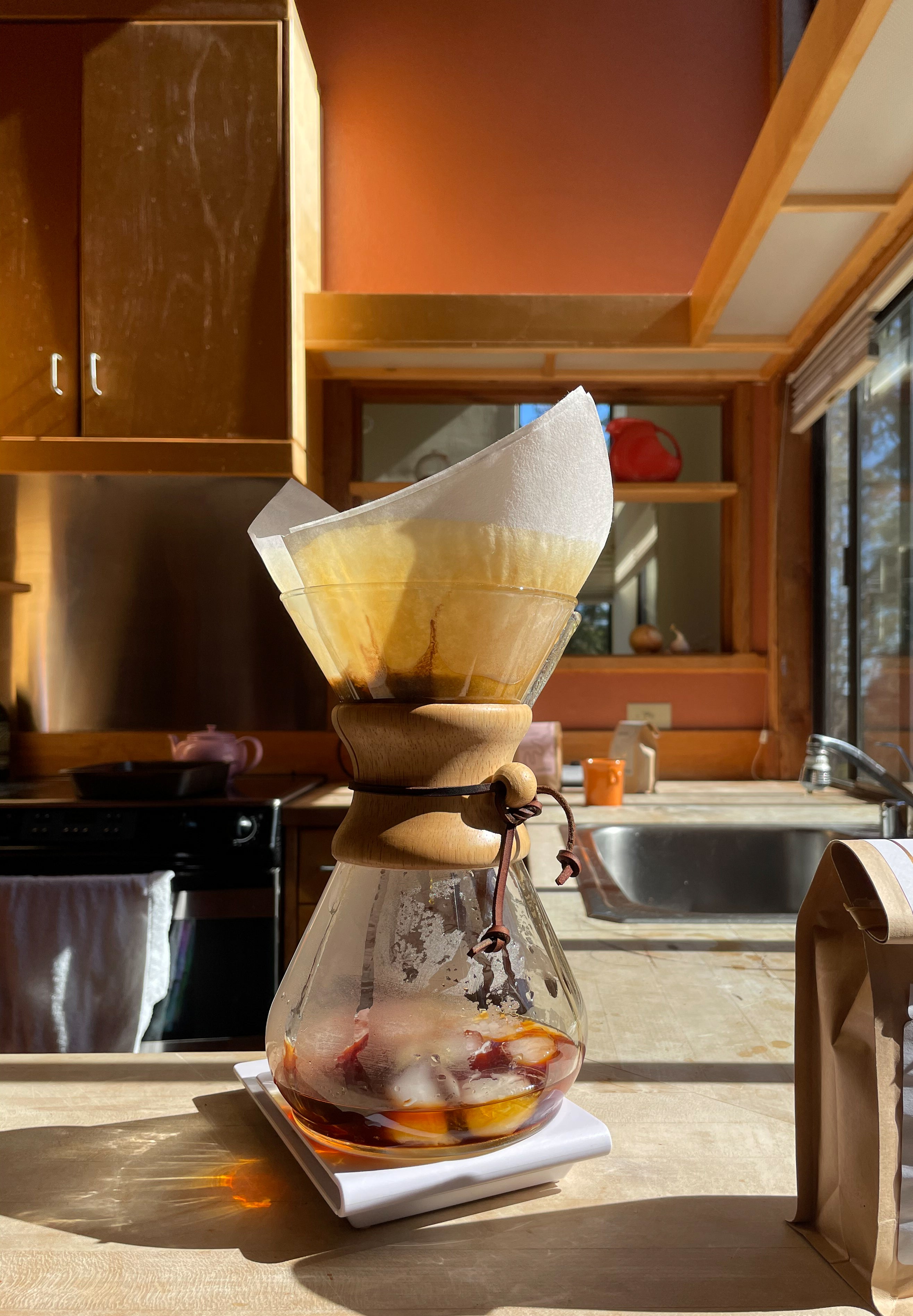 Iced coffee in Chemex at a house in Sea Ranch, CA