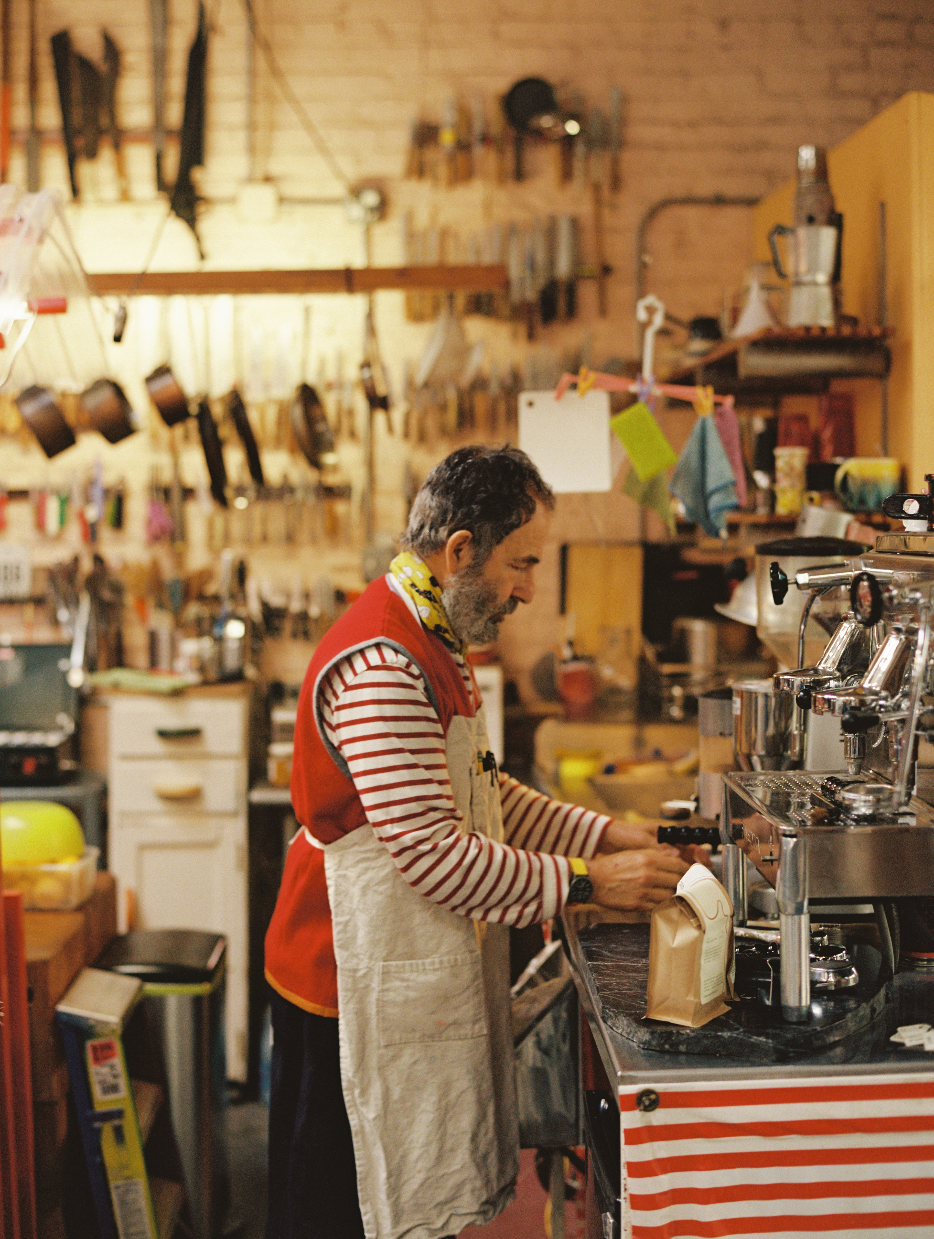 Peter Shire making espresso on his Faema E61 Jubile in Echo Park, Los Angeles. Photo by Justin Chung.