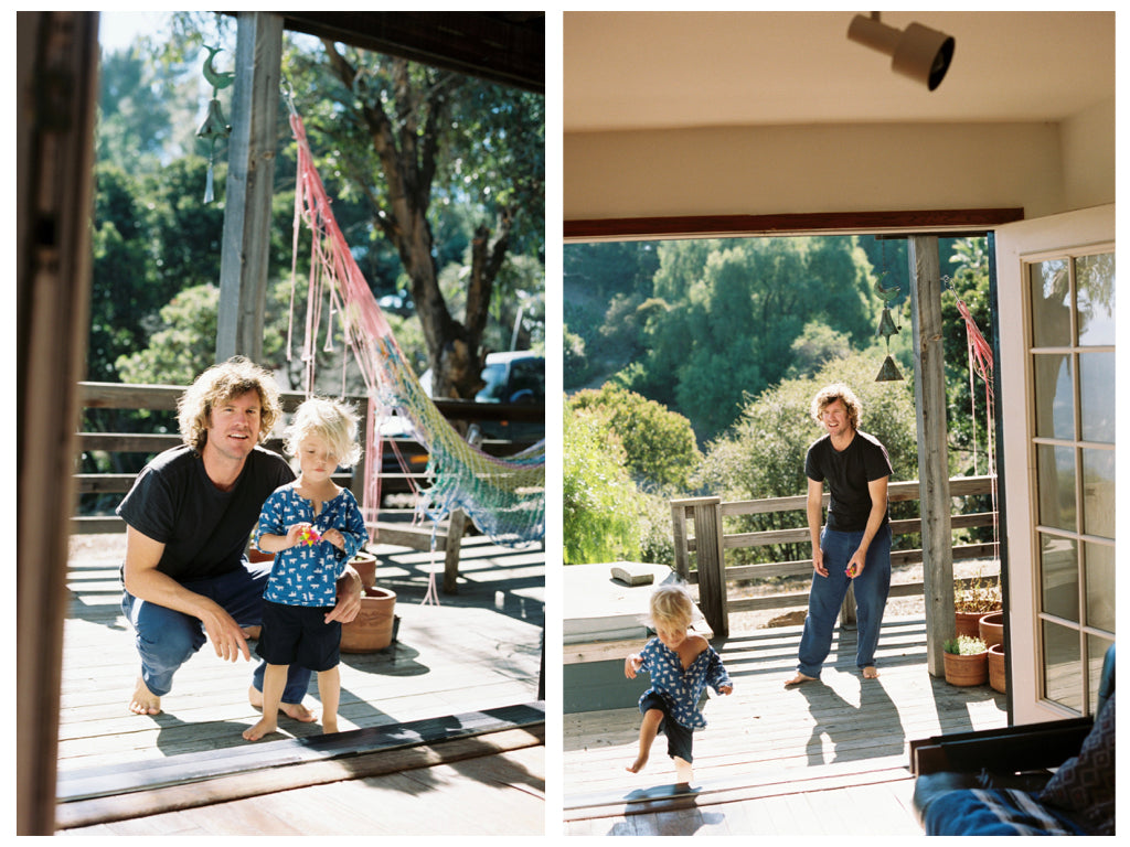 Luke Harwood and son Cisco on their deck in Topanga Canyon | Photo by Justin Chung