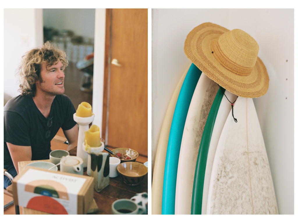Luke Harwood of Activist Manuka Honey, and surf boards with straw hat. Photos by Justin Chung.