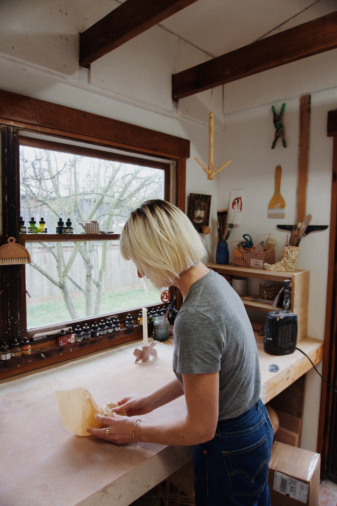 Michelle Blade in her studio in Portland, OR with Canyon Coffee