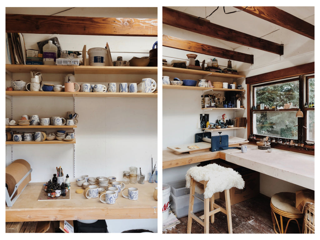 Two photos showing Michelle Blade's studio in Portland, OR