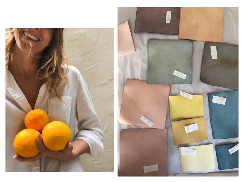Photo of artist Cheryl Humphreys with hand-picked oranges on left, photo of textile samples on right