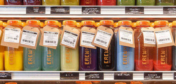 Organic cold-pressed juices at Erewhon Organic grocers in Los Angeles, CA