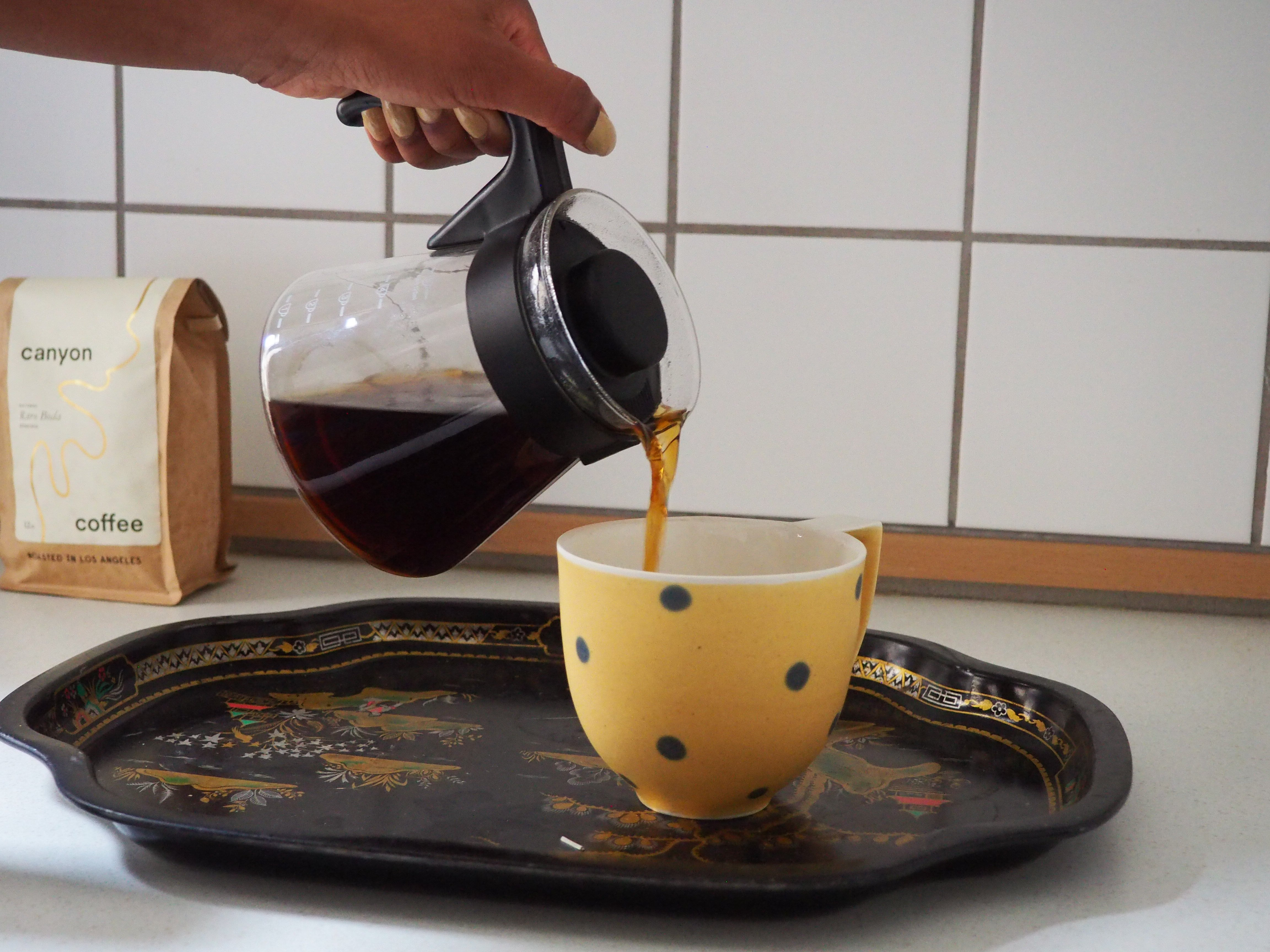 Pour over made with Canyon Coffee in a sunny kitchen.