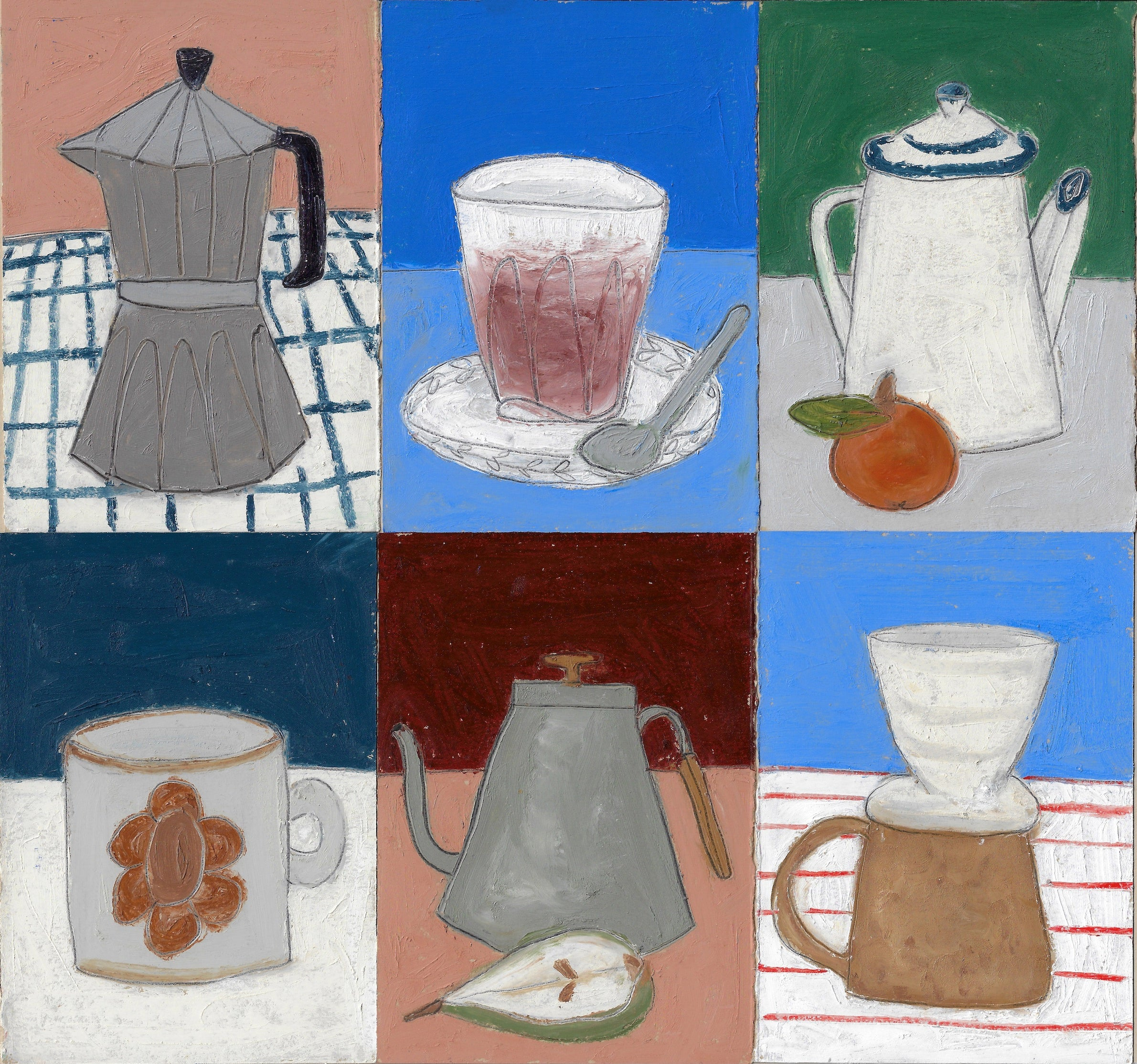 Six paintings of coffee pots, kettles and mugs by Lottie Hampson for Canyon Coffee