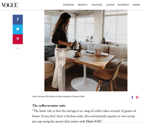 A screenshot of an article from Vogue Magazine on Canyon Coffee, featuring Ally Walsh making a pourover in her California home