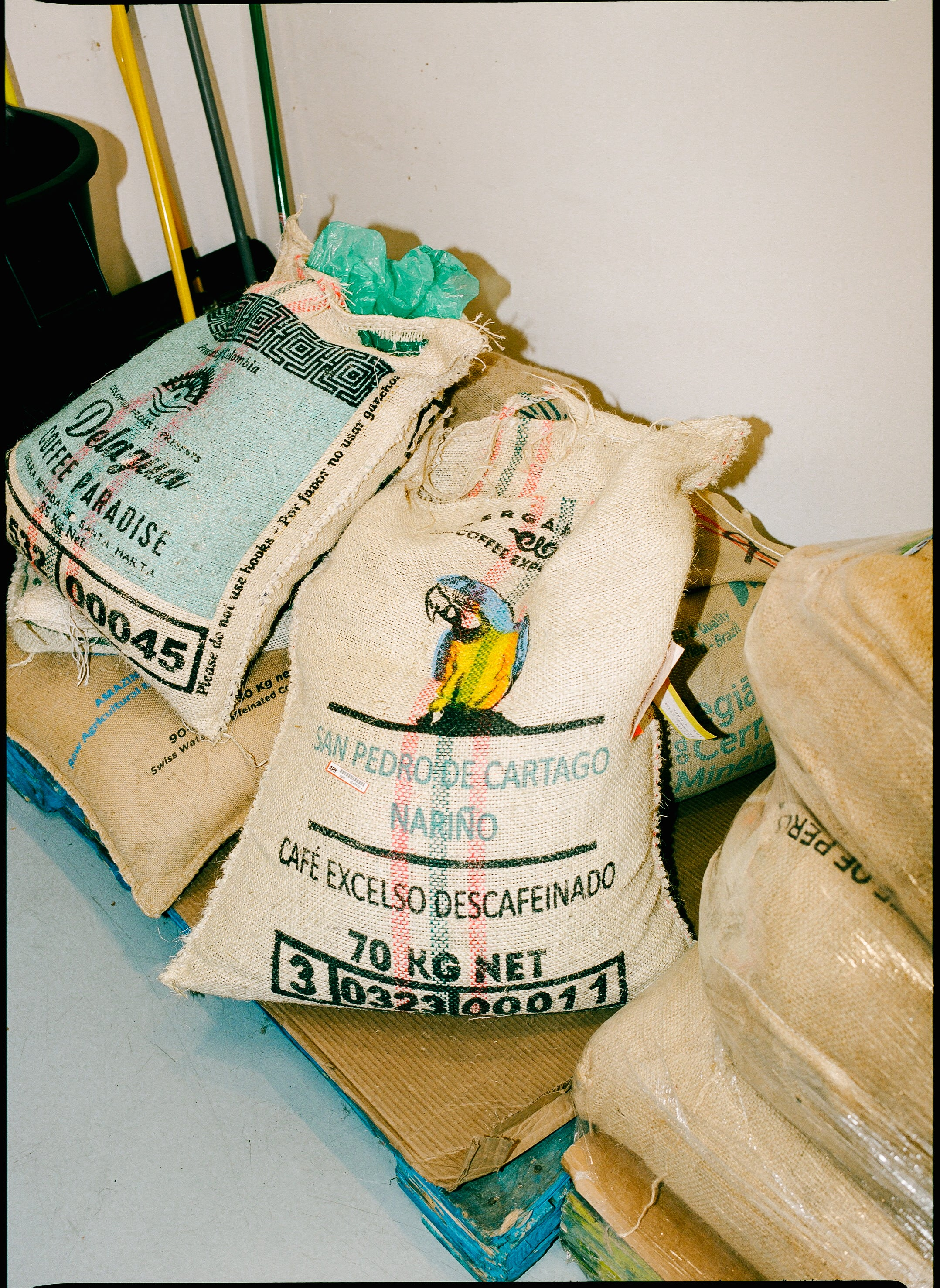 Grainpro bags of green coffee from Colombia | Canyon Coffee