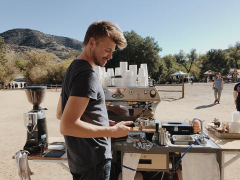Canyon Coffee owner Casey Wojtalewicz on the espresso machine at Mercado Sagrado 2016.