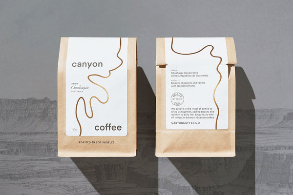 Front and back of the Canyon Coffee package, featured on The Dieline