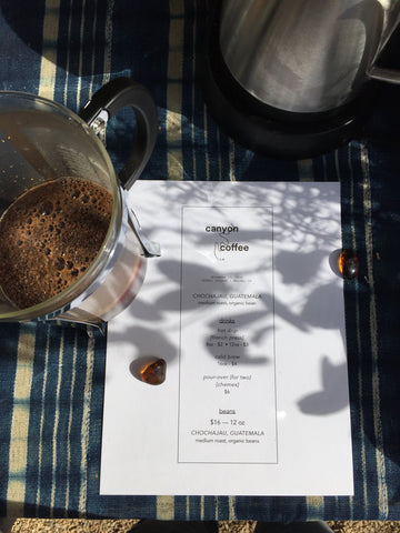 French Press | Canyon Coffee pop-up | Coffee menu