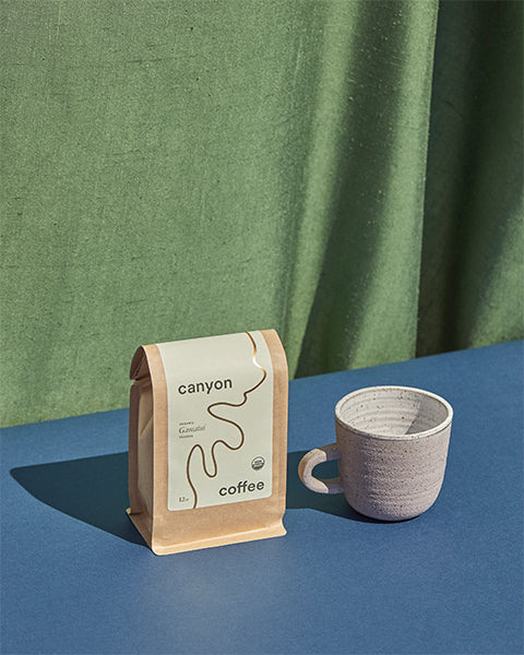 The Ritual Bundle by Canyon Coffee includes one 12oz bag of Canyon Coffee with a ceramic mug made by ANK Ceramics of Maine