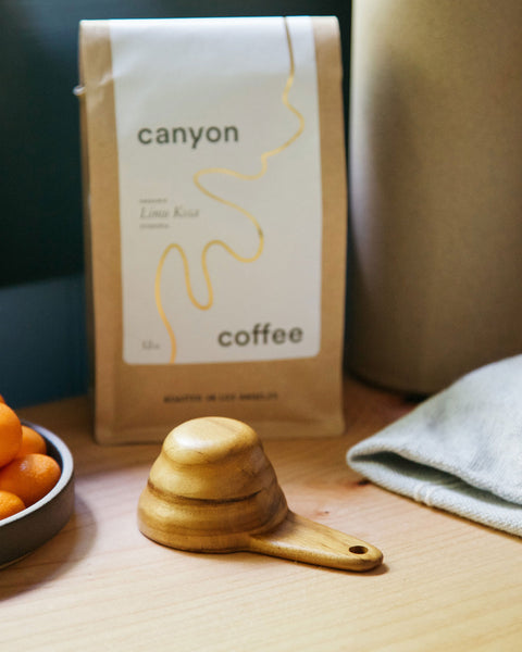 Wooden V60 coffee scoop on kitchen counter with fruit and bag of Canyon Coffee