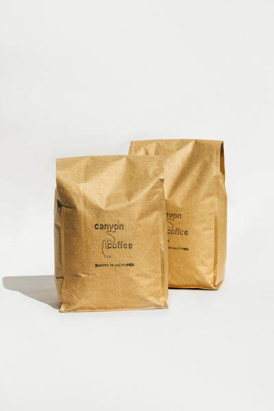 Two 5lb bulk bags of organic Canyon Coffee